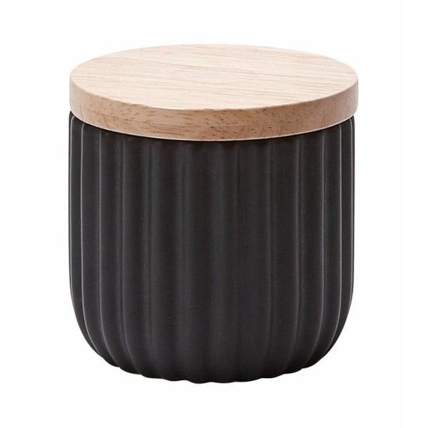 Malá černá dóza s víčkem z dubového dřeva Aquanova Ribba