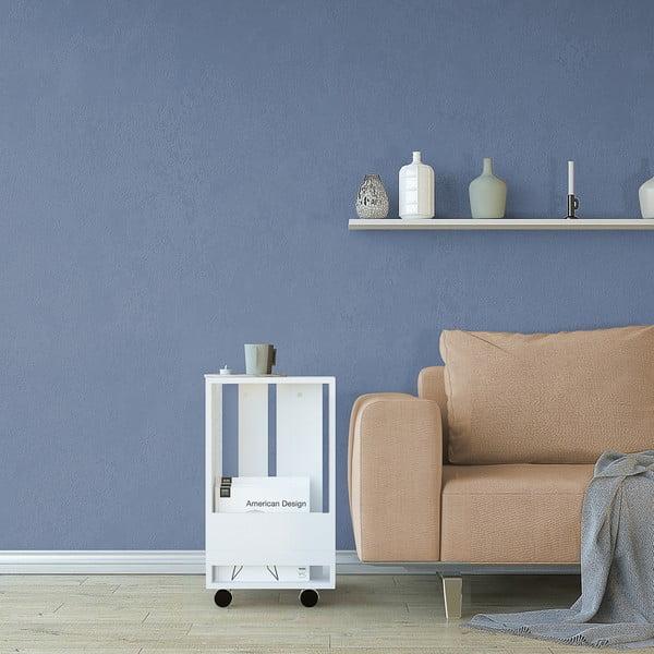 Bílý odkládací stolek Monica, výška60cm