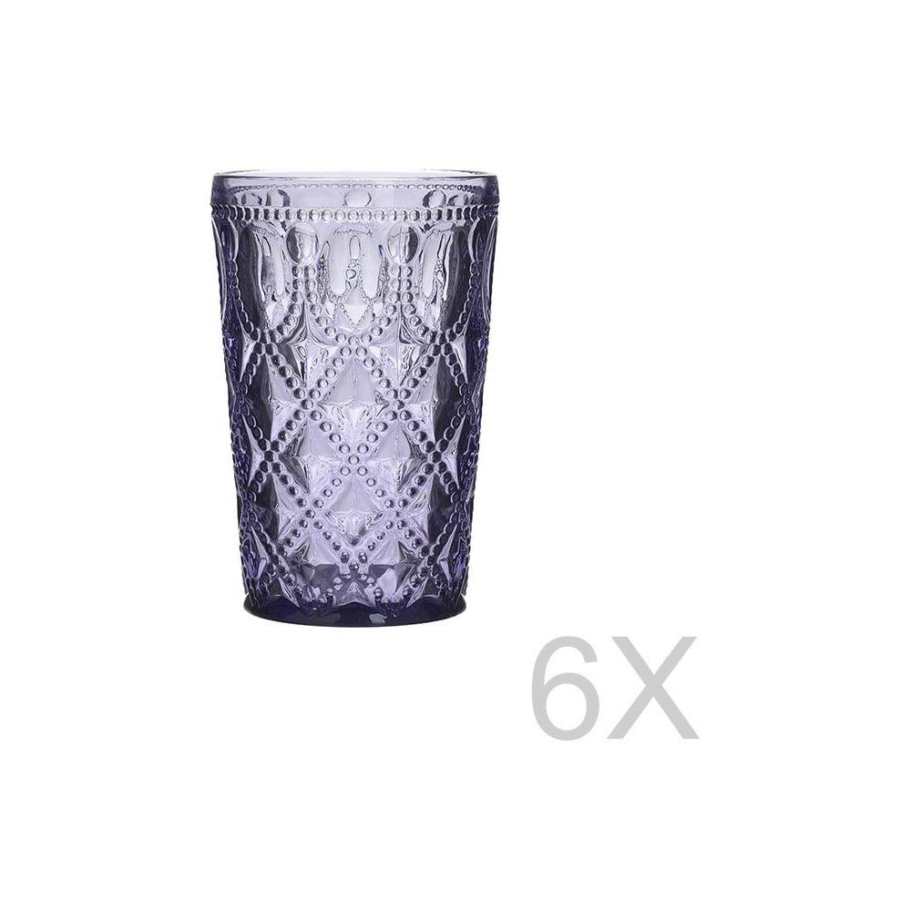 Sada 6 skleněných transparentních fialových sklenic InArt Glamour Beverage, výška 13,5 cm