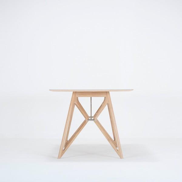 Jídelní stůl z masivního dubového dřeva se zelenou deskou Gazzda Tink, 160x90cm