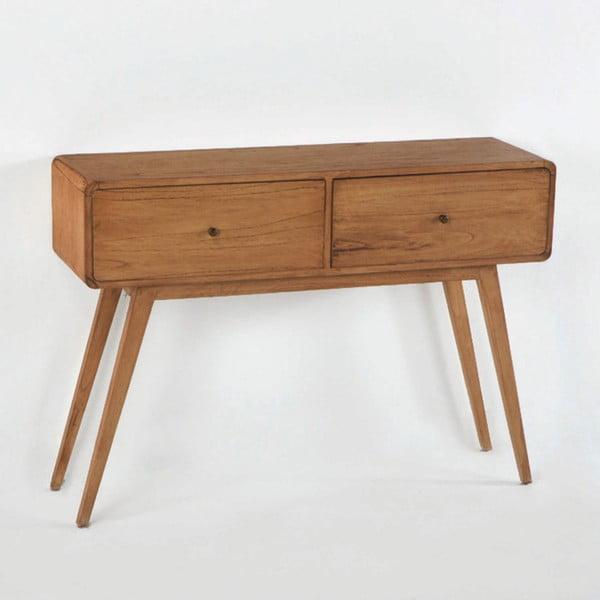 Hnědý konzolový stolek z lakovaného dřeva borovice Thai Natura Helper, 120 x 86 cm