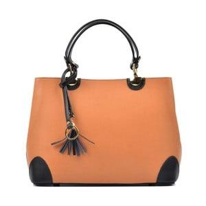 Koňakově hnědá kožená kabelka s černými detaily Isabella Rhea Mismo