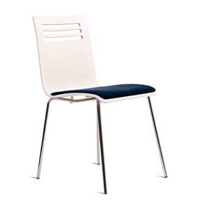 Bílá židle se sedákem z dubového dřeva Charlie Pommier Comfort