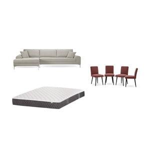 Set krémové pohovky s lenoškou vlevo, 4cihlově červených židlí a matrace 160 x 200 cm Home Essentials