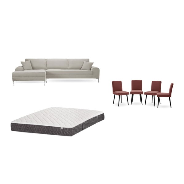 Set canapea crem cu șezut pe partea stângă, 4 scaune roșii, o saltea 160 x 200 cm Home Essentials