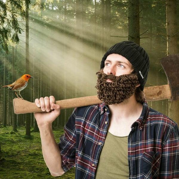 Černá čepice Beardo se zarostlým hnědým plnovousem