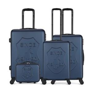 Sada 4 tmavě modrých cestovních kufrů na kolečkách GENTLEMAN FARMER Integre & Vanity