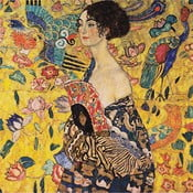 Reproducere tablou Gustav Klimt - Lady With Fan, 40 x 40 cm