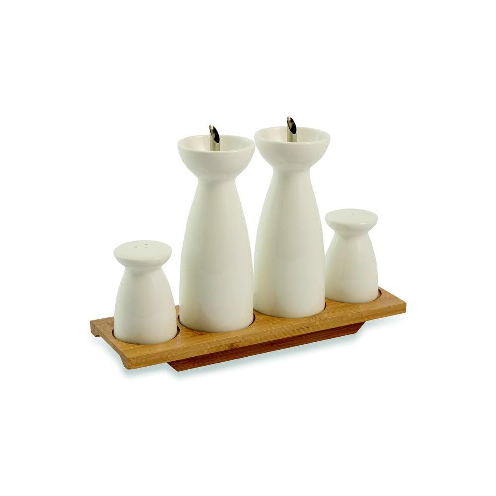 Dochucovací porcelánový set na bambusovém podtácku Villa d'Este Horeca