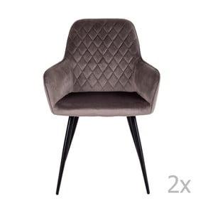 Sada 2 hnědošedých jídelních židlí House Nordic Harbo