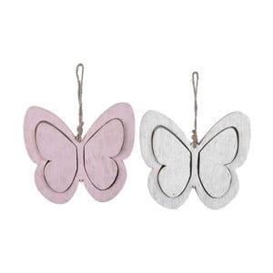 Sada 2 závěsných dekorací ve tvaru motýlků Ego Dekor Spring