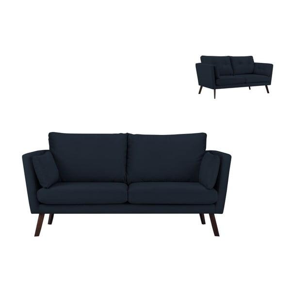 Canapea cu 3 locuri Mazzini Sofas Cotton, albastru închis