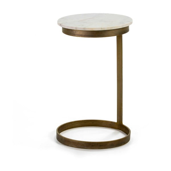 Odkládací stolek ve zlaté barvě s mramorovou deskou Thai Natura, ∅40cm