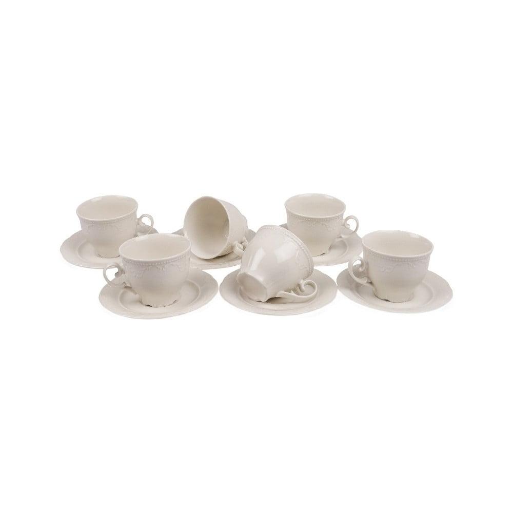 Sada 6 porcelánových hrnečků s podšálky Kutahya Elegance, 80 ml