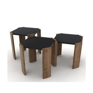 Sada 3 stohovatelných odkládacích stolků s černým detailem Rafevi Hansel