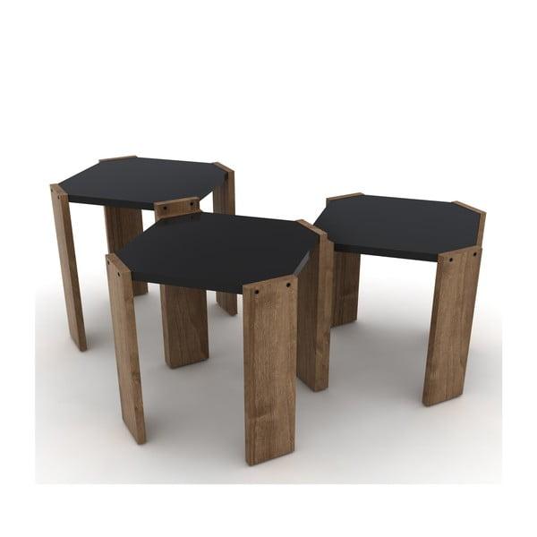 Sada 3 stohovatelných odkládacích stolků v dekoru ořechového dřeva Rafevi Hansel