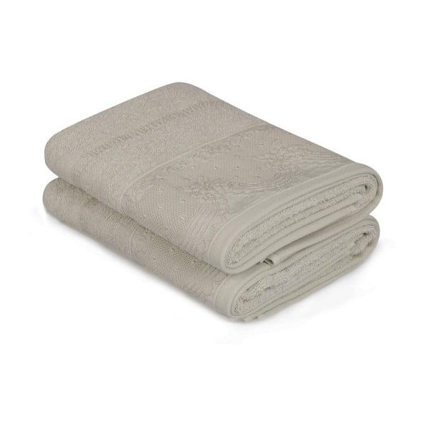 Zestaw dwóch beżowych ręczników Baroque, 90x50 cm