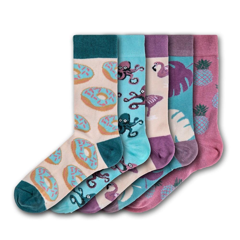 Sada 5 párů barevných ponožek Funky Steps Donuts and Animals, velikost 35 - 39