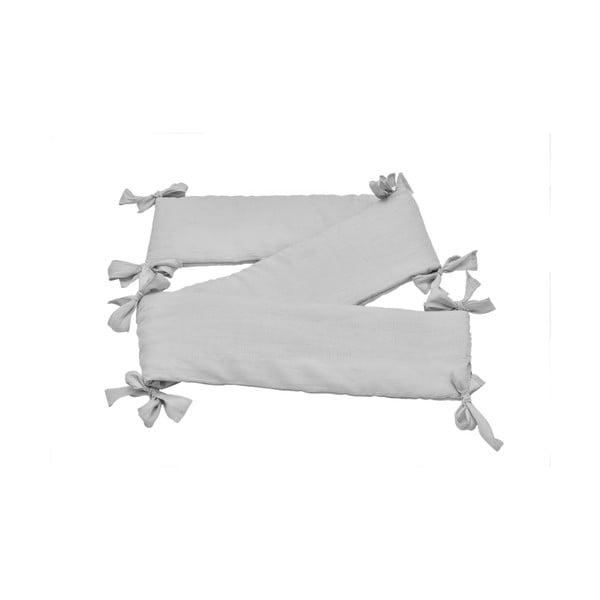 Sivý detský ľanový ochranný mantinel do postieľky BELLAMY Stone Gray, 23,5×198 cm