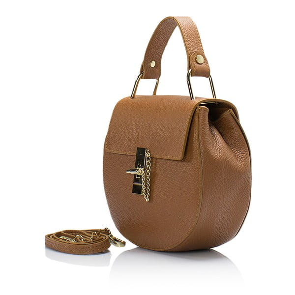 Světle hnědá kožená kabelka Giorgio Costa Dollaro