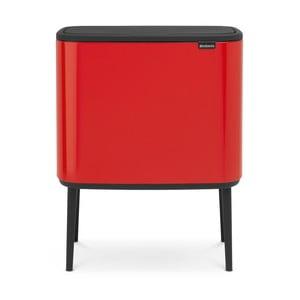 Červený odpadkový koš se 3 přihrádkami Brabantia BO Touch Bin, 3x11l