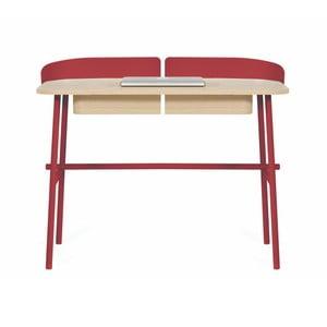 Červený pracovní stůl z dubového dřeva HARTÔ Victor, 100x60cm
