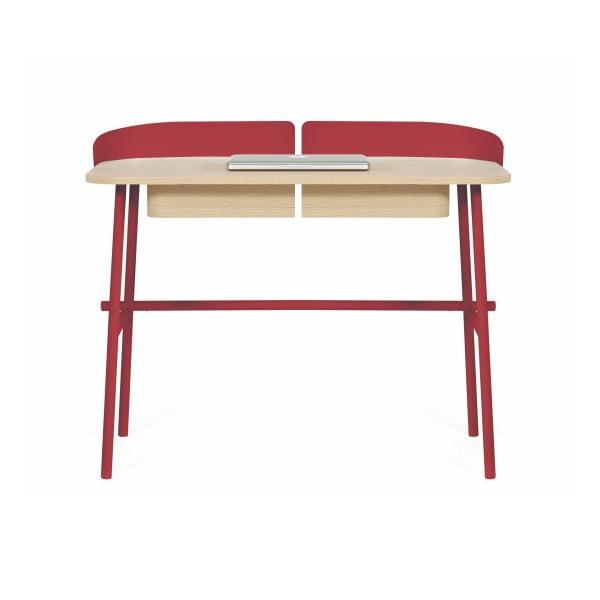 Červený pracovný stôl z dubového dreva HARTÔ Victor, 100×60cm