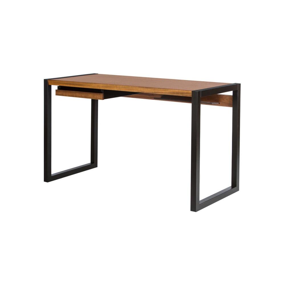 Pracovní stůl v ořechovém dekoru s černými nohami Wermo Renfrew, 126x55cm