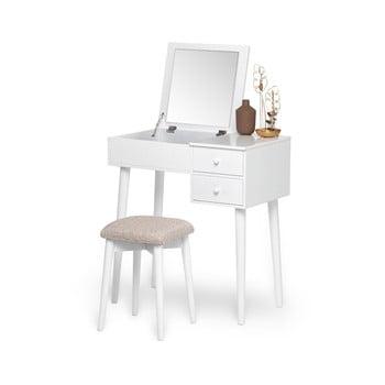 Masă de toaletă cu oglindă, 2 sertare și cutie de bijuterii și Chez Ro Beauty, alb de la Chez Ro