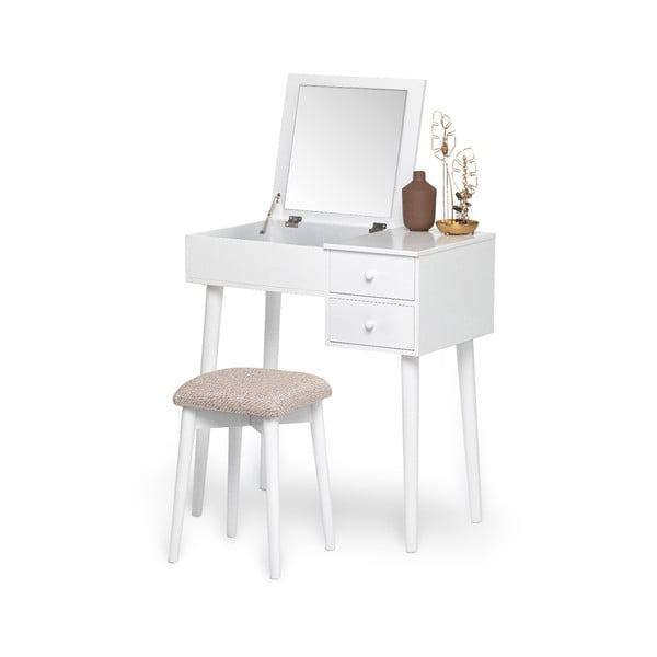 Bílý toaletní stolek se zrcadlem, šperkovnicí a 2 šuplíky Chez Ro Beauty
