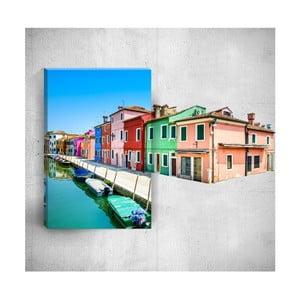 Nástěnný 3D obraz Mosticx Colourful Village, 40 x 60 cm