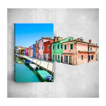 Tablou de perete 3D Mosticx Colourful Village, 40 x 60 cm
