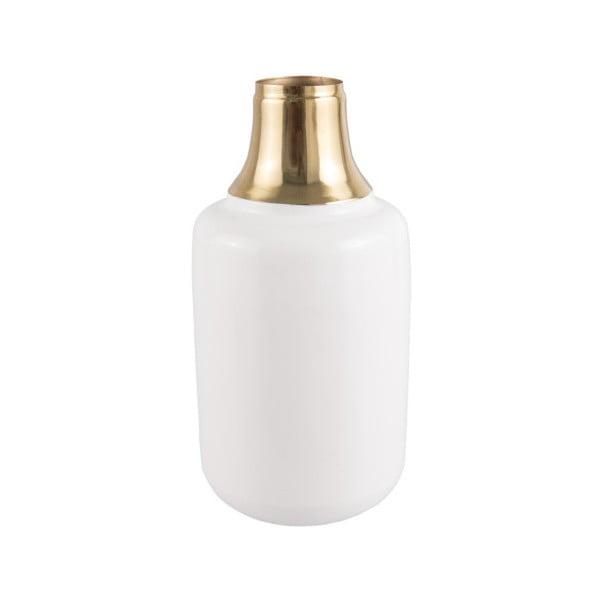Vază cu detalii aurii PT LIVING Shine, înălțime 28 cm, alb