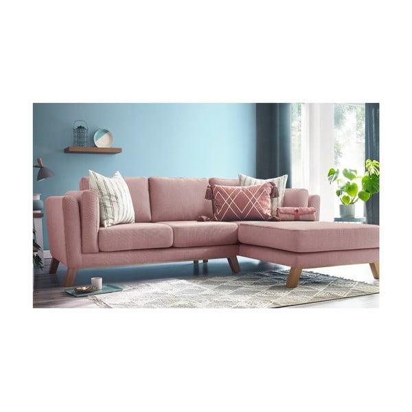 Růžová třímístná pohovka s lenoškou Bobochic Paris Seattle, pravý roh