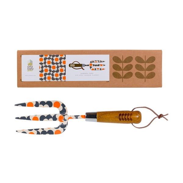 Oranžová zahradní vidlička Orla Kiely Retro