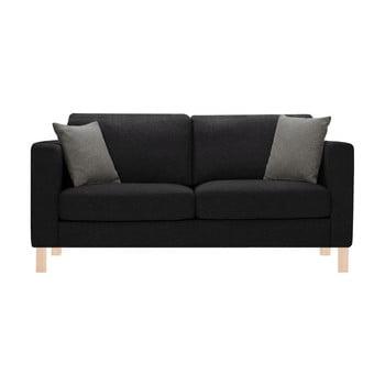 Canapea pentru 3 persoane Stella Cadente Maison Canoa neagră cu 2 perne gri antracit