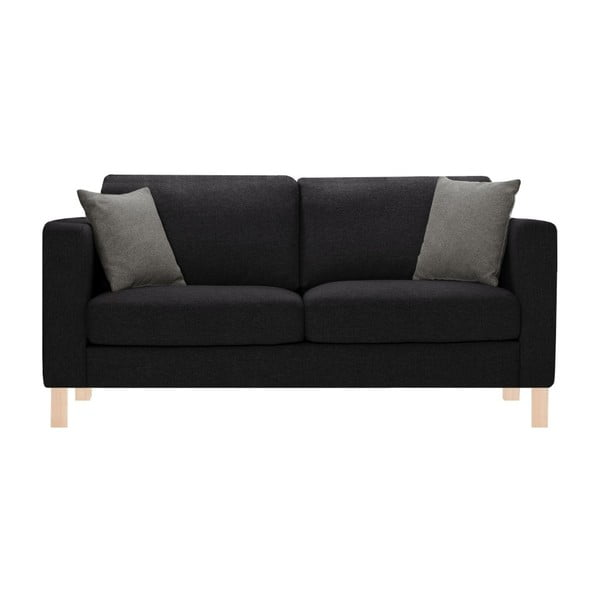 Canapea pentru 3 persoane Stella Cadente Maison Canoa neagră, cu 2 perne gri antracit