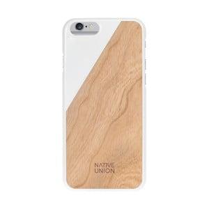 Bílý obal na mobilní telefon s dřevěným detailem pro iPhone 6 a 6S Native Union Clic Wooden Light