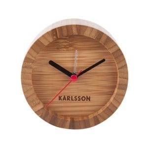 Hnědé stolní bambusové hodiny s budíkem Karlsson Tom