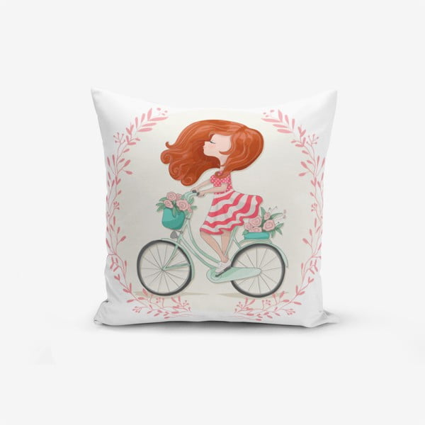 Față de pernă Minimalist Cushion Covers Bike Girl, 45 x 45 cm
