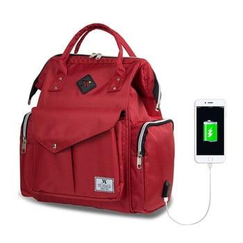 Rucsac maternitate cu port USB My Valice HAPPY MOM Baby Care Backpack, roșu imagine