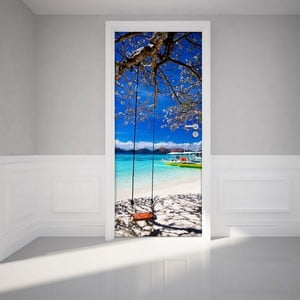 Adhezivní samolepka na dveře Ambiance Tropical beach and swing