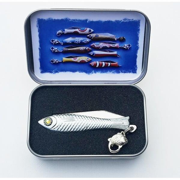Český nožík rybička, vánoční se žlutozeleným okem, v plechové krabičce