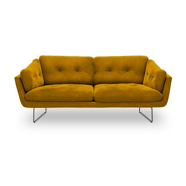 Żółta 3-osobowa sofa z aksamitnym obiciem Windsor & Co Sofas Gravity
