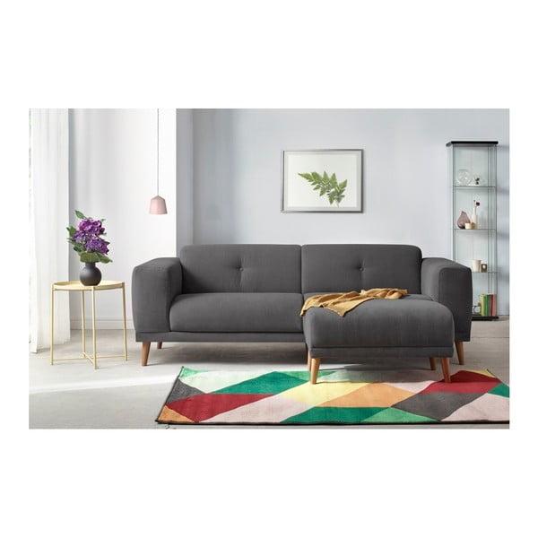 Canapea cu 3 locuri și suport pentru picioare Bobochic Paris Luna, gri închis