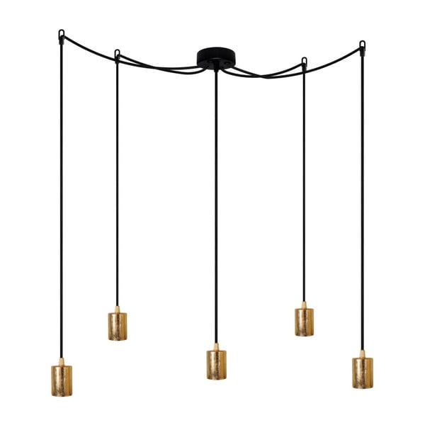 Závěsné svítidlo s 5 černými kabely a zlatou objímkou Bulb Attack Cero