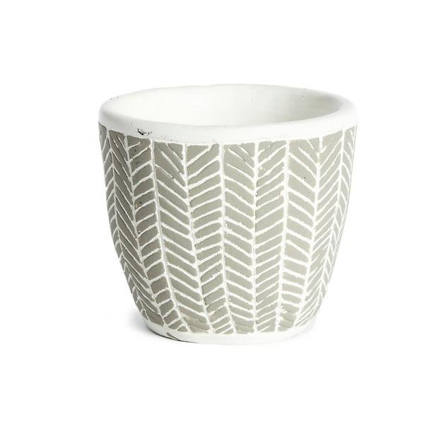 Jasnoszara doniczka ceramiczna Simla Fishbone, wys. 11 cm