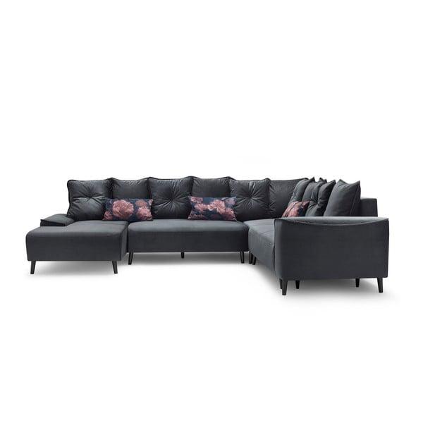 Canapea extensibilă cu șezlong Bobochic Paris Hera, pe partea stângă, gri