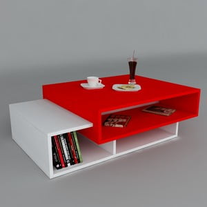 Konferenční stolek Tab White/Red, 60x105x32 cm