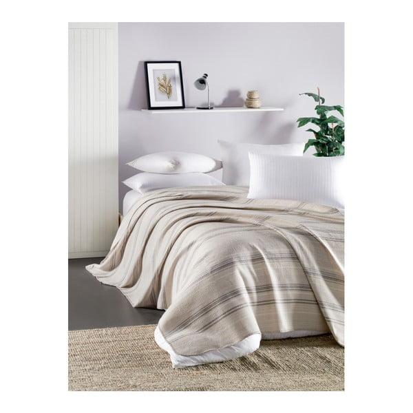 Cuvertură subțire matlasată pentru pat de o persoană Runino Munica, 160 x 220 cm, bej